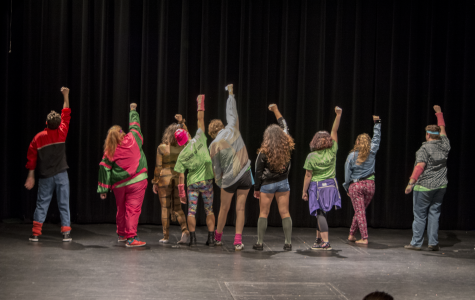 First-years strike a pose during the '80s-inspired performance. Photo: Janelle Moore