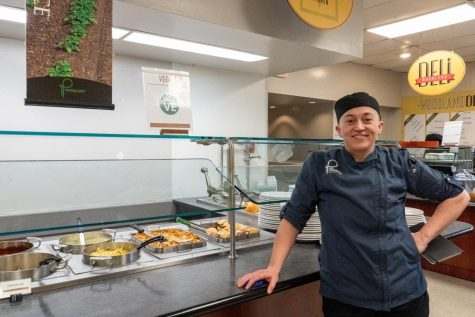 Chef Jen O'Donnell in front of the vegan section in Anderson Dining Hall.