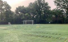 An empty sports field is set up for practice at Chatham University's Shadyside campus.