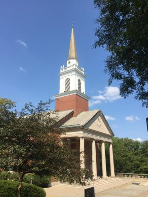 Chatham's Chapel in the sun, but few students in the area on Sept. 9.  Photograph by Alice Crow