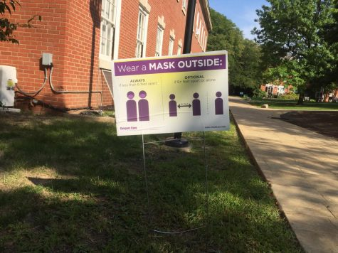 A sign about mask and social distancing policies on Chatham's campus on Sept. 9.