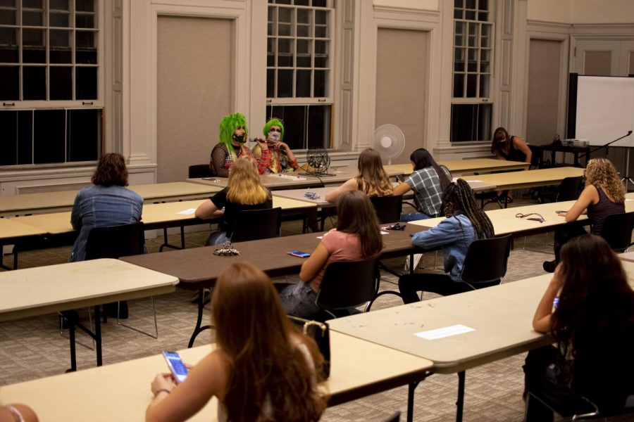 Students play a socially distanced game at 'Drag Queen Bingo' night, in early Sept.