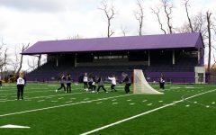 Women's lacrosse team practices at Graham Field.