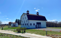 The barn (right) and maintenance building (left) on Eden Hall campus. Photo credit: Elena Woodworth