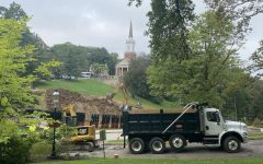 Construction vehicles and equipment take up space on Chatham's campus on Sept. 16. Roads that access various dorm buildings have had to temporarily close. Photo Credit: Lilly Kubit