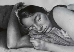 """""""Lydia"""" (graphite drawing) is a portrait of Calahan's roommate Lydia sleeping. It took about 15 hours to complete."""
