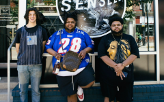 Cole Modell, left, stands outside Senseless with owners Javed Watson, middle, and Rome Watson, right. Photo Credit: Jake Lach