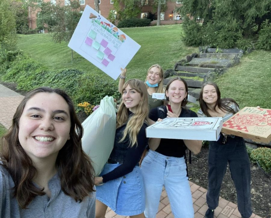 Students from Chatham's Green Team executive board before a Student Climate Network meeting on Sept. 25. From left, Rachel Lloyd, Goldie Seddon, Ave Roberts, MacKenzie MacFarland and Shannon Long.