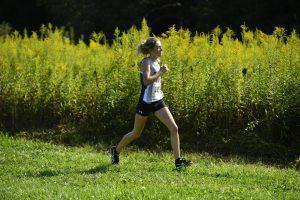 Rebecca Pennington runs for Chatham University. Photo Credit: Chatham Athletics